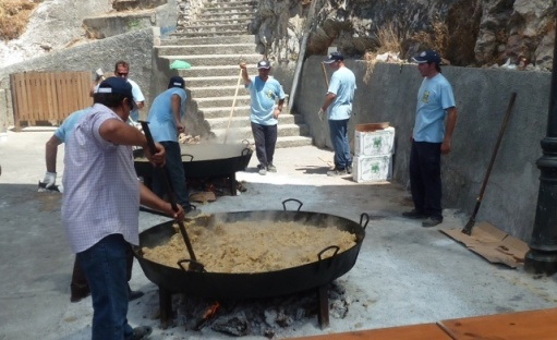 """team migas"" preparing the feast for the visitors"