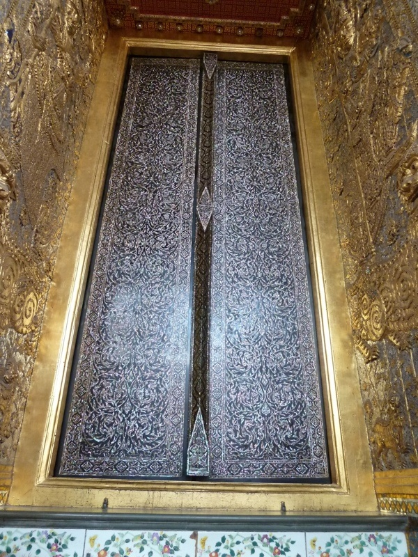 This massive door is made of inlaid mother of pearl - see close up below - absolutely stunning