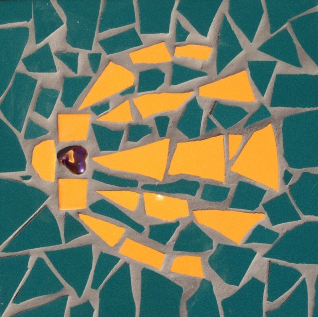 My tile that was intended to represent a scallop shell - the symbol of the camino de Santiago pilgrimage - you might need to use your imagination!