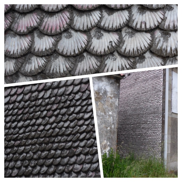 The complete side wall of this house was covered in scallop shells, sadly discoloured by years of car and train fumes.