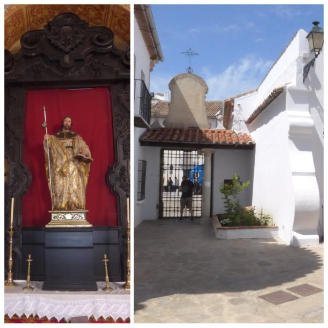 Albergue courtyard and statue of Santiago in the church next door