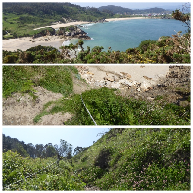 Top photo - three beaches Middle pic - halfway up looking down (shouldn't have done that!) Bottom pic - still a way to go